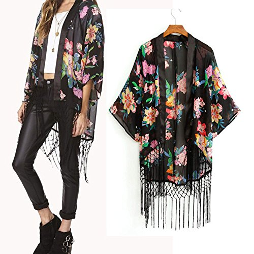 Eshion New Vintage Flower Tassels Shawl Cardigan Chiffon Kimono Cardigan Coats L