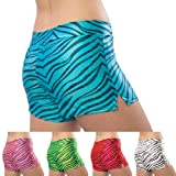 Pizzazz Black Multi Color Zebra Glitter Dance Cheer Shorts Adult S-2XL
