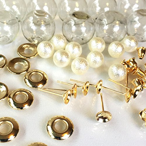 ガラスドームピアスセット パール付きゴールド 2個 ガラスボール レジンセッティング ハンドメイド 手芸材料