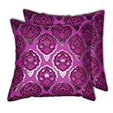 House This Darbaar-Buti Purple Set Of 2 Cushion Covers- 16 X 16