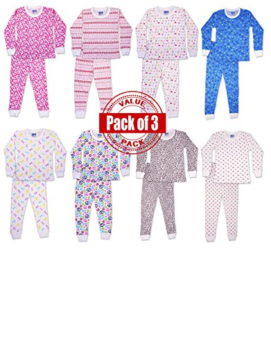 SNOOzZZ'N Girls Long Sleeve Long Pant Thermal Underwear Set  Pack of 3 Sets (Thermal Girls compare prices)