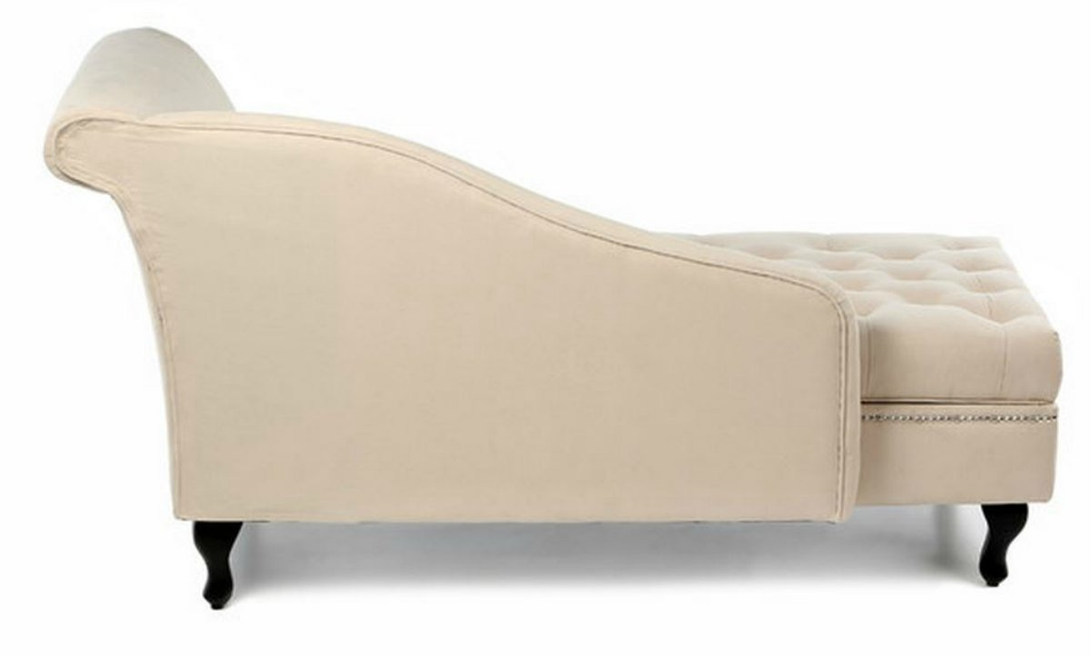 Traditional Storage Chaise Lounge - This Luxurious Lounger w/ Tufted Cushions is a Great Addition to Your Office, Living Room, or Bedroom -Made of Wood and Microsuede - Free eBook (Khaki) 6