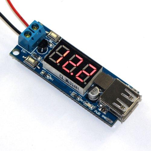 DROK(TM) DC/DC BUCK Stepdown Converter Regulator 4.5-40V 12V To 5V/2A USB Charger Voltmeter Display