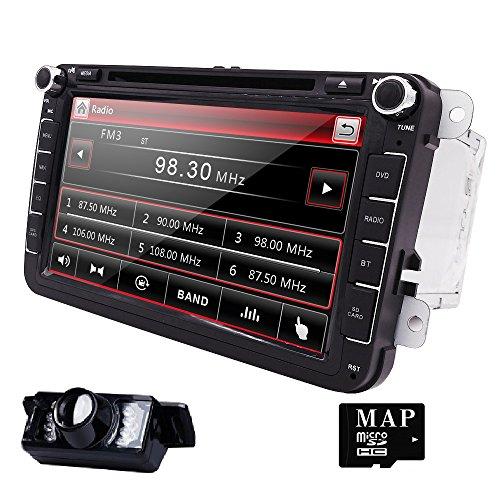 HIZPO-Autoradio-fr-Volkswagen-SKODA-SEAT-Moniceiver-Naviceiver-mit-GPS-Navigation-Bluetooth-Freisprechfunktion-8-Zoll-Touchscreen-Bildschirm-DVDCD-Player-USB-und-SD-2-DIN-Doppel-DIN-Standard-Einbaugre