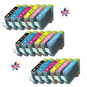 (18 Pcs) Canon Bci-6bk, Bci-6c, Bci-6m, Bci-6y, Bci-6pc, Bci-6pm Compatible Ink Cartridge Jumbo Set - 3 Blacks + 3 Each Colors
