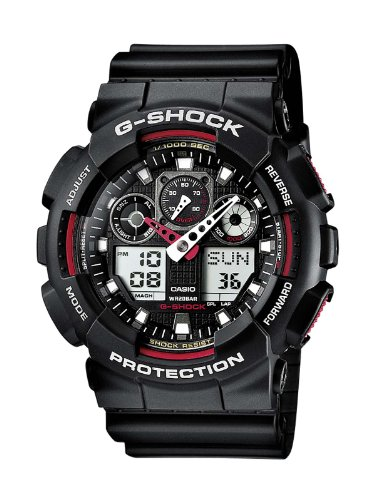 Casio Men's Combi Watch Ga-100-1A4Er with G-Shock Resin Strap