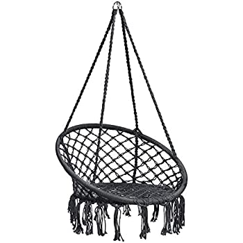 Best Choice Products Indoor/Outdoor Handmade Hanging Cotton Macramé Rope Hammock Lounge Swing Chair for Patio, Porch, Bedroom, Backyard w/Fringe Tassels - Black