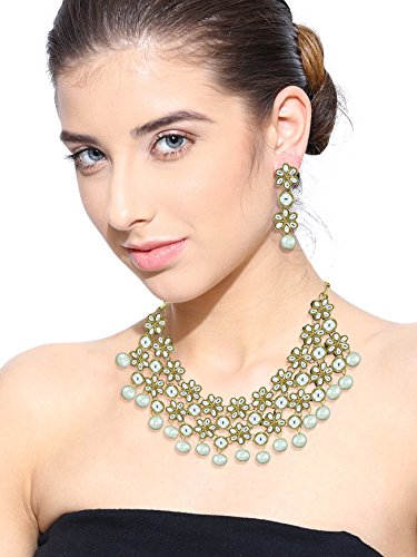 Zaveri Pearls Non-Precious Metal White Choker Necklace With Earrings Set For Women
