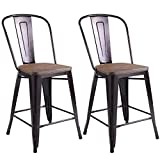 Description This Is Our Brand New Vintage Style Metal Stools Which Is Sold In Pairs And Comes With Back For More Comfortable Use. Features A Sturdy Steel Frame, These Bar Stools Are Scratch Resistant Under Normal Wear And Tear And Easy To Tra...