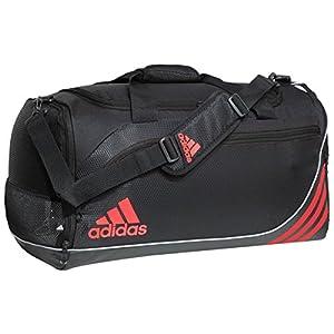 adidas Team Speed Duffel Bag (Medium), Black/Solar Red/Silver, 12.5 x 25 x 12-Inch