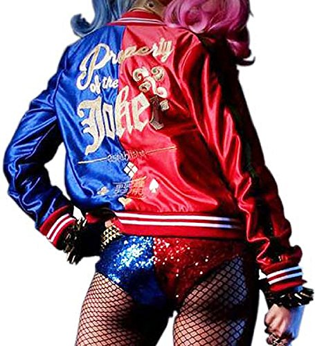 Harley Quinn Jacket in Red & Purple Satin Fabric