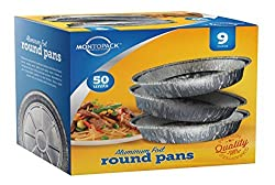 9 Inch Round Tin Foil Pans - Freezer & Oven Safe Disposable Aluminum - For Baking, Cooking, Storage & Reheating - Pack of 50 - By MontoPack