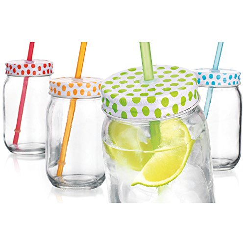 Home Essentials Polka Dot 16-oz Mason Jars and Straws, Set of 4