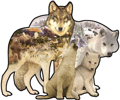 Sunsout Wolf Song Shaped 1000 Piece Jigsaw Puzzle