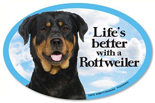 Rottweiler Oval Dog Magnet for Cars (and fridges too!). Includes bonus