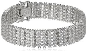 Sterling Silver Round Cubic Zirconia Tennis Bracelet, 7.25""