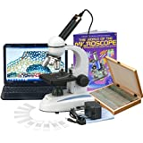 AmScope M149C-PS100-WM-E 40X-1000X Glass Lens Metal Body Student Microscope + 100 Specimens, Book, Camera