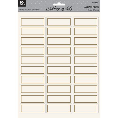 address labels gold - 90 count