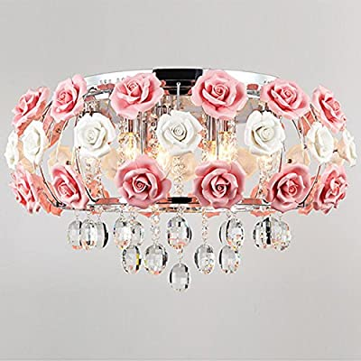 (USA Warehouse) Elegant Rose Crystal 5 Light Pendant Chandelier Lamp Pink Lighting Light Fitting -/PT# HF983-1754409569