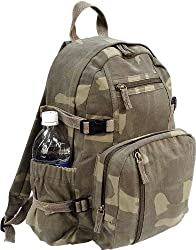 Woodland Camouflage Vintage Military Book Bag Backpack
