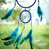 India Style Handmade Blue Dream Catcher Circular Net With feather Hanging Decoration Decor Ornament Gift
