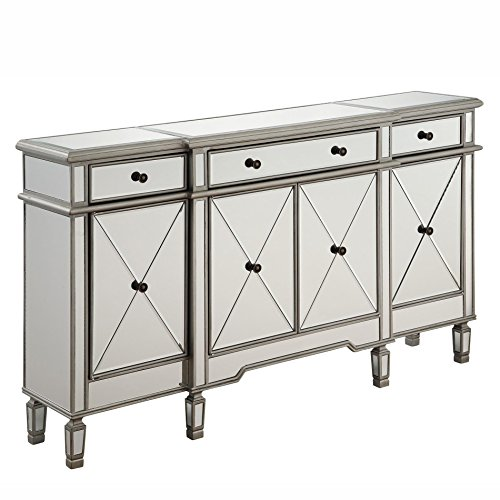 Elegant Lighting Danville 4 Door Mirrored Sideboard in Silver (Mirrored Furniture Console compare prices)