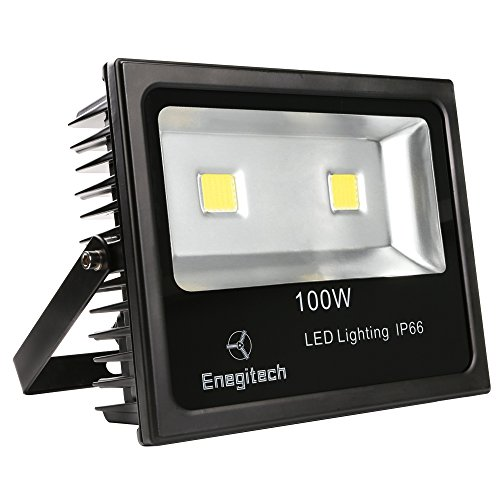 Enegitech 100W IP66 10150 Lumens LED Flood Light Wall Lamp, 6000K Daylight White