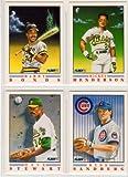 1991 Fleer Baseball Pro-Vision Set (Only available in 1991 Fleer Complete Baseball Sets (4) Cards (Barry Bonds) (Ryne Sandberg) (Rickey Henderson) (Dave Stewart)