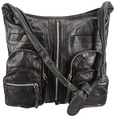 Mimic Copenhagen Leather bag w. zippers M134530, Damen Schultertaschen, Schwarz (black), 34x29x3 (B x H x T)
