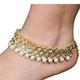Imlistreet Golden-Ivory Kundan Anklets - Set of 2