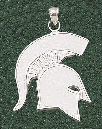 Michigan State Spartans Giant 1 1 2 W x 1 3 4 H Spartan Pendant - 14KT Gold Jewelry by Logo Art