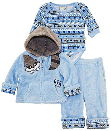 duck-goose-baby-boys-cute-raccoon-sherpa-jacket-bodysuit-3pc-pant-set-blue-3-6-months