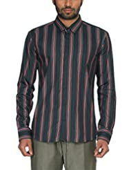 Zovi Men's Cotton Regular Fit Green And Red Stripes Formal Shirt With Classic Pocket - Full Sleeves (10303046801...