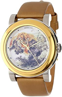 Invicta Women's 12133 Angel Beige with Tiger Image Dial Tan Leather Watch from Invicta