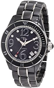 Lucien Piccard Women's 27116BK Celano Mid Size Automatic Diamond Accented Black Mother-Of-Pearl Dial Black Ceramic Watch