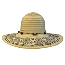 Beige Crushable Beach Sun Floppy Hat With Elegant Trim