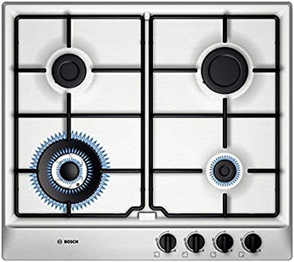 Bosch Brushed Steel Gas Hob, 60cm, Silver at amazon