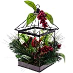 Cardinal In Bird Cage with Greenery