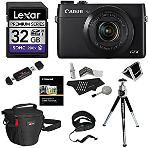 "Canon PowerShot G7 X 20.2MP 1"" High-Sensitivity CMOS Sensor 4.2x Optical Zoom Digital Camera Kit + Lexar 32GB Flash Memory Card + Ritz Gear Water Resistant Shock Proof Case + Polaroid Accessory Bundle"