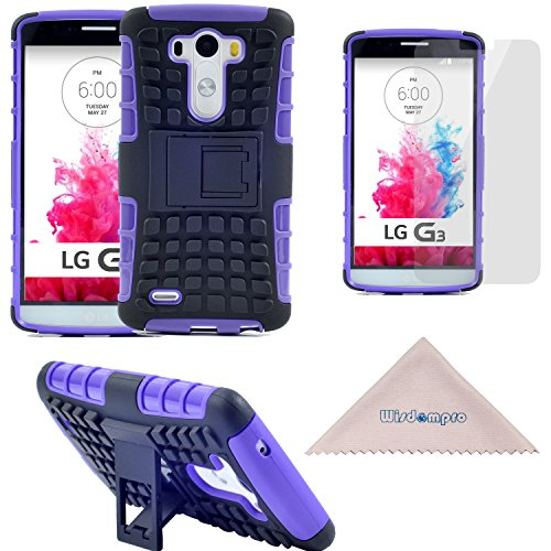 LG G3 Case, [Rugged][Heavy Duty][Shockproof] Dual Layers Hard Soft Hybrid Protective [Armor] Kickstand Case by Wisdompro for LG G3 - Purple / Black (Not fit LG G3 Vigor) (Lg G3 Phone Case With Kickstand compare prices)
