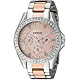 Fossil Women's Quartz Stainless Steel Casual Watch, Color:Two Tone (Model: ES4145)