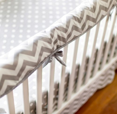 New Arrivals Zig Zag Baby Railcover, Gray/White