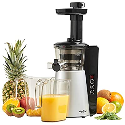 VonShef Digital Slow Masticating Juicer with 2 Speeds, Reverse Function, Ultra-Quiet Motor & Cleaning Brush