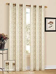 Duck River Textile Elliott Embroidered Taffeta Grommet Panel Beige Home Kitchen