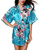 Avidlove Womens Kimono Robes Peacock and Blossoms Silk Nightwear Short Style, Acid Blue , M , US 6