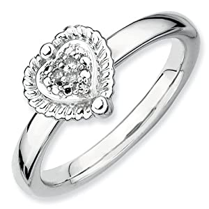 Sterling Silver Stackable Expressions Heart Rough Diamond Ring - Size 5 - JewelryWeb