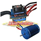 HOBBYPOWER  レーシング 60A ESC ブラシレススピードコントローラー& 10T 3900KV モーター 1/10 1/12 RC カー対応
