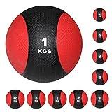 Medizinball Gewichtsball von POWRX 1 - 10 kg | Schwarz / Rot...