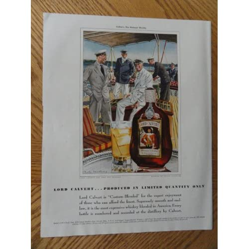 Lord Calvert Whiskey, Vintage Illustrated art. 30s full page print ad. Color Illustration (painting by Leslie Saalburg))Original vintage 1939 Colliers Magazine Print Art.