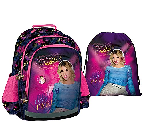 """'2tlg. Violetta-Set zaino + turn sacchetto-qualità PREMIUM-, motivo: """"Music, Love + Passion-Zaino per la scuola, lo sport e il tempo libero"""